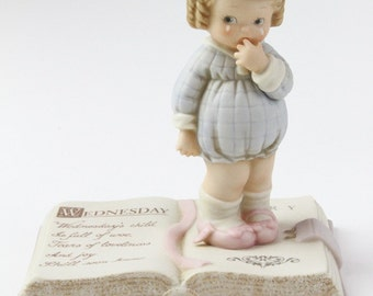 """Retired Enesco Memories of Yesterday """"Wednesday's Child is Full of Woe"""" Mabel Lucille Atwell Collection 1993. Baby Gift Nursery Decor"""