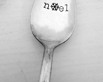 Noel Spoon, Hand Stamped Spoon, Christmas, Gift, Present, Holiday Gift, Vintage, Snowflake, Spoon, Custom, Personalized, Stocking Stuffer