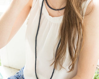 Beaded Double Wrap Necklace- Navy Blue// Double Wrap Beaded Necklace