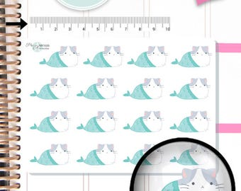 Cat Mermaid Stickers,Cat Stickers,Kitty Stickers,Planner Stickers,Cute Stickers, Kawaii Stickers, Hand Drawn Stickers NR1606
