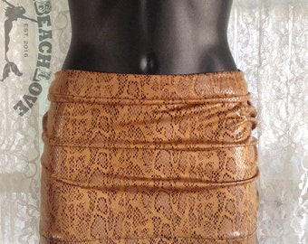 Snakeskin Print - Miniskirt, 16 inch mini, Tan - Stretch - Lycra, Clubwear, Resortwear, Dance, Small, Ready to Ship, SeXy, One of a kind