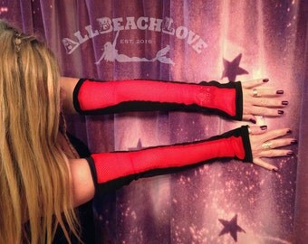 Fishnet, Mermaid - Sleeves, Fingerless - Gloves, SeXy, Red, Sleeves, Extra Long Gloves, 18 Inch Gloves, Arm Warmers, Ready to Ship! Birthday
