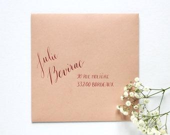 Enveloppes calligraphie à la main - mariage, baptême et tout événement | Style Zéphyr | Calligraphie d'adresses invitation événements