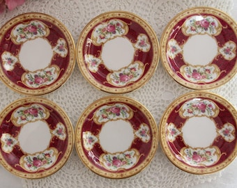 Set of Six Royal Albert Lady Hamilton Butter Pats Lady Hamilton Coasters Mini plates / Lady hamilton Trinket Dish Gift for her