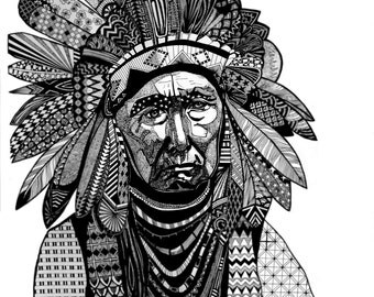 CHIEF JOSEPH (rare and fine man portrait -native american- neat illustration, black ink with patterns)