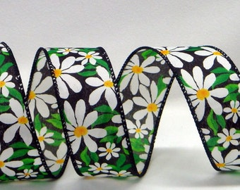 1.5 inch Wired Ribbon ~ Black Ribbon Featuring White Daisies with Green Leaves & Yellow Floral Discs ~ Decorative Ribbon ~ 3 Yards