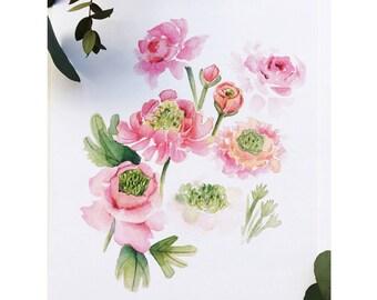 Super green ranunculus Floral, Watercolor Floral print
