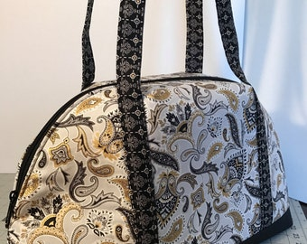 Black and Gold Paisley Bowler Style Purse