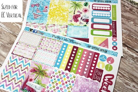 Planner Stickers - Spring Break Stickers - Tropical Vacation Stickers - Retro Beach Stickers - Weekly Planner Stickers - Fits Erin Condren