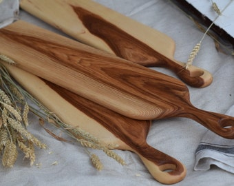 the Baguette   MADE TO ORDER Hickory baguette bread board, cheese board, cutting board, serving board