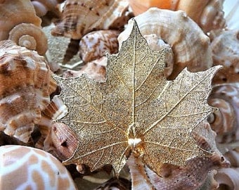 Aspen Leaf ..  Whispy Golden Leaf Pin Brooch - Pendant .. Jewelry