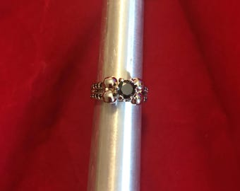 Silver Skull Ring with Black gems