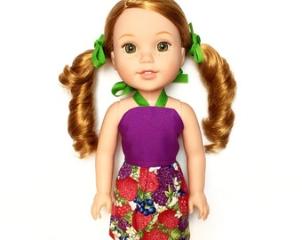 Halter Dress, Fruit, Berries, Purple, Red, Blue, Green, 14.5, Fits dolls such as AG Wellie Wishers Doll Clothes