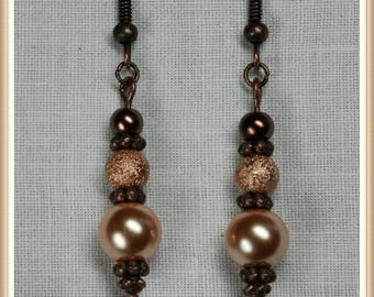Copper and Pink Colored Glass Bead Dangle Earrings