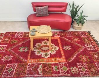 "Vintage Moroccan rug ,""My Garden"",Red rug, Boujad Berber kilim, Bohemian rug, Tribal area rug, Moroccan decor, Boujad Red Rug,"