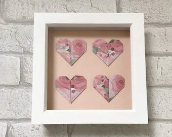 Origami hearts frame, floral hearts, origami hearts, spring decor, housewarming gift, contemporary home decor, framed origami