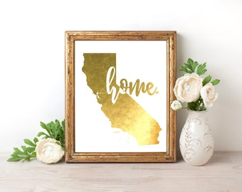 California Home Gold Foil Print FREE US SHIPPING