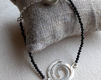 Handmade sterling silver bracelet with faceted black spinel beads