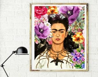 Frida Kahlo print, Frida Kahlo, Frida Kahlo Poster, Frida Kahlo art, Celebrity art, woman print, Feminist art, Frida Kahlo wall art, mexican