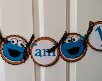 Cookie Monster Banner, Cookie Monster, Cookie Monster Birthday, Smash Cake