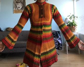 Vintage sz S/M organic acrylic sweater dress