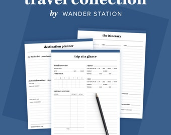8 in 1 Travel Planner - Trip Planner, Itinerary, Schedule, Packing List, Pre-Departure Checklist, Contacts  - Editable PDF Printables