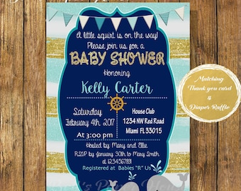 Digital file or Printed-Navy Whale Baby Shower Boy-Blue & Gold Baby Shower-Gold Glitter-Nautical Baby Invitation-Under the Sea-Free Shipping