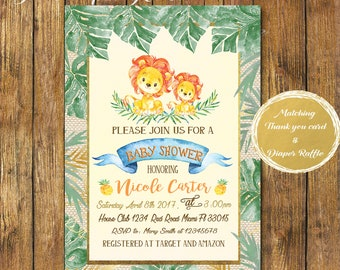 Digital File or Printed Lion Baby Shower Invitation Boy-Safari Baby Shower Invitation-Jungle theme-Printable Safari Burlap Baby Shower-
