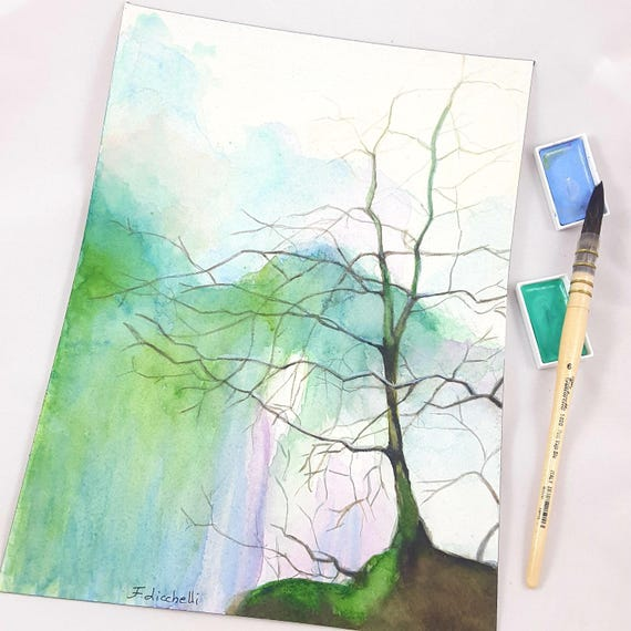 Tree without leaves above a waterfall, copi of author, modern watercolor, contemporary home office decoration, lounging, gift idea for man.