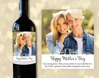 Personalized Mothers Day Gift for Mother from Daughter, New Mom Gift, Wine Label for Mother's Day Gift for her from Son, Gift for Mom Mum