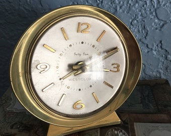"""Gorgeous, Unique Westclox Baby Ben Deluxe """"Crown Line"""" Model 8 in Brushed Brass with Metal Dial, c. 1964"""