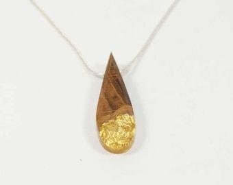 Necklace-wood-oak - Inclusion pendant leaves of gold-form of drop-calendar Celtic-unique piece