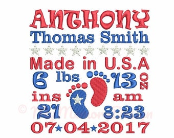 Subway art embroidery - Birth announcement embroidery - CUSTOM embroidery - Baby embroidery - Patriotic embroidery - Machine embroidery file