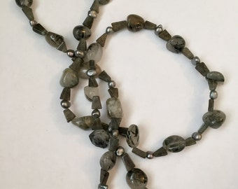 """31"""" Smoky Quartz and Fresh Water Pearl Beaded Necklace"""