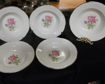 "Homer Laughlin ""Calirose"" (E49 N6) Rimmed Soup Bowls - Cunningham & Pickett, Inc. Alliance, OH - Hand decorated - Warranted 22 KT Gold"