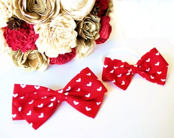 bows, heart bow,Baby Girl, Toddler, Girls Fabric Bow, Newborn, Hand tied bow, Red Heart Bow