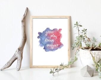 Baby Gift, Grow Play Dream Imagine, Pink, Nursery Print, Nursery Art, Baby Print, Nursery Wall Decor, Nursery Decor, Playroom