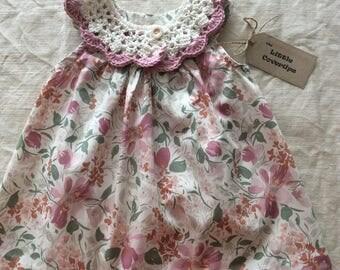 Baby Dress/Sundress /Floral Dress/ Detachable Crochet Collar /Cotton Lawn/Cotton Crochet Collar / Baby Shower Gift /0/3 mths