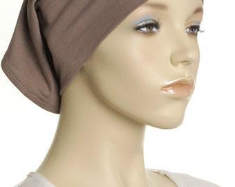 Extra Wide Headband / Mocha Brown Cotton Head Band / Gifts For Her / Plain Head Wrap / Womens Yoga Headbands / Chemo Cap / Underscarf