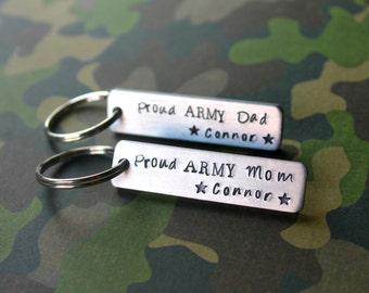 Army Keychain, Custom Keychain, Army Mom, Army Dad, Military Keychain