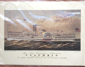 Currier & Ives Print COLUMBIA 1902 American Excursion Steamship Steamboat