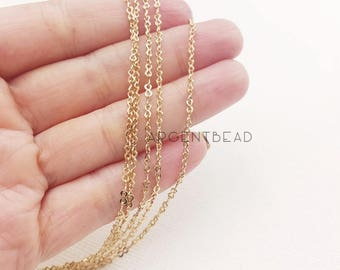 1metre 2mm  16K Gold plated DAINTY necklace chain, Cable Chain Small Oval Link Raw Brass O Link Chain  AGBR30