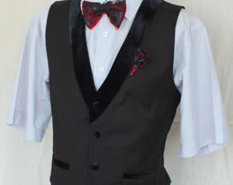 Wedding vest, Men's vest, Rustic Vest, Vest + Bow tie + Flower,  Formal Wedding Vest