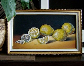 Lemons - handmade picture embroidered with beads, Beadwork, Embroidered picture, Home décor, Wall decor, Still life in the kitchen