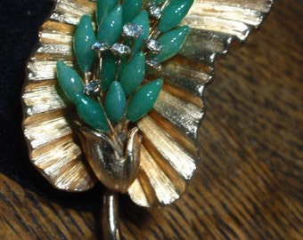 Gorgeous Flower Brooch  with Green Stone and Rhinestone Center