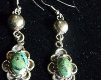 Turquoise and Alpaca earrings