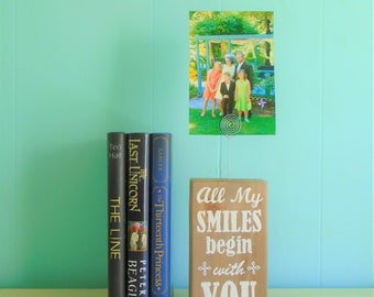 All My Smiles Begin with You Rustic Wood Picture Holder//Gift//Desk//Photograph//Frame//Inspire//Coworker