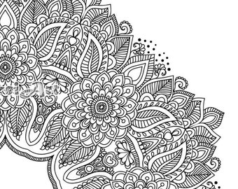 Flower Mandala Coloring book 30 Pages Printable Pdf Blank