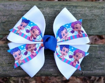 "White ""Bubble Guppies"" Hair bow (4 inch)"