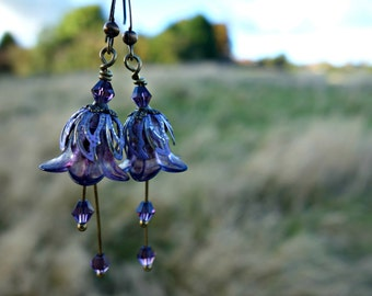 Bohemian Earrings - Flower Earrings - Boho Earrings - Floral Earrings - Purple Earrings - Dangle Drop Earrings - Boho Bride Bridesmaid Gift
